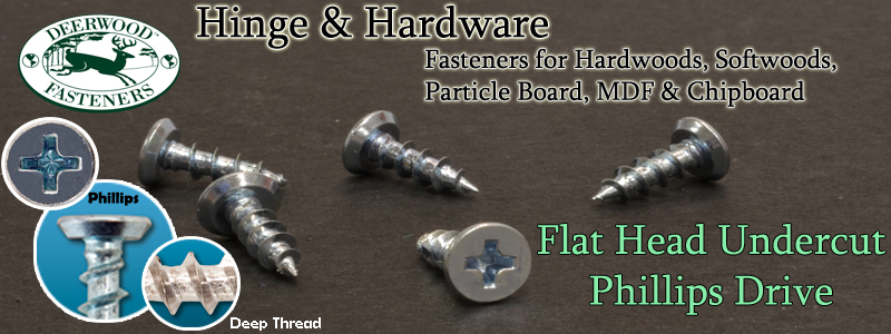 Hinge and Hardware Flat Undercut Screws